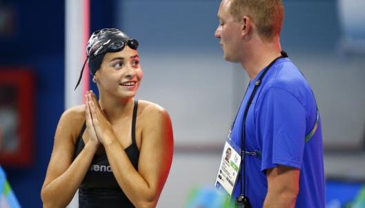 <strong>I RIO:</strong> Yusra Mardini og hennes tyske trener Sven Spannekrebs. Foto: REUTERS/Michael Dalder