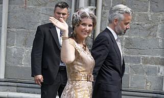 SAMMEN I JUNI: Prinsesse Märtha Louise og Ari Behn gikk hånd i hånd fra gudstjeneste i Trondheim i juni. Foto: Marius Gulliksrud / Stella Pictures