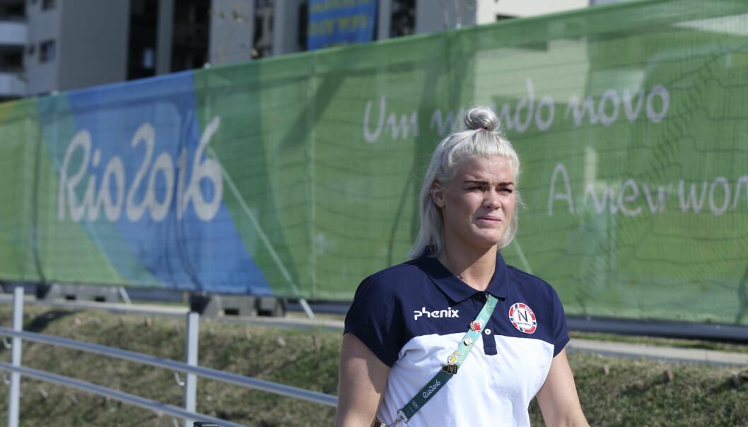 <strong>I FORM:</strong> Veronica Egebakken Kristiansen i deltagerlandsbyen dagen før Angola-kampen. Foto: Vidar Ruud / NTB scanpix