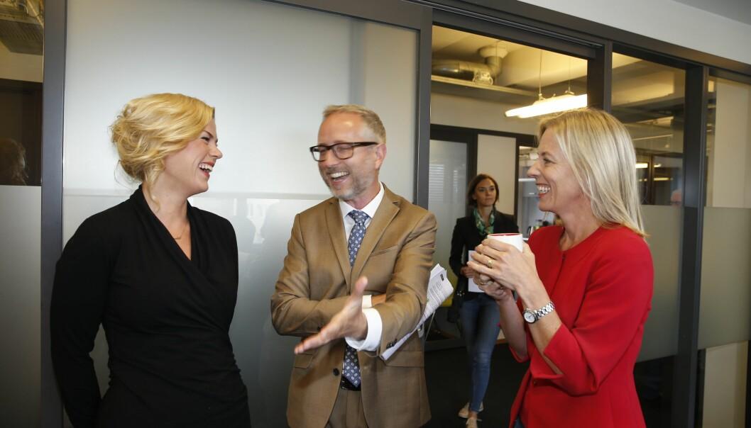 <strong>HOS AGENDA:</strong> &nbsp;Utvalget bak rapporten er ledet av Bård Vegar Solhjell (SV, i midten). Her med Jette F. Christensen (Ap, t.v.) og Agendas leder Marte Gerhardsen. Foto: Terje Pedersen / NTB scanpix
