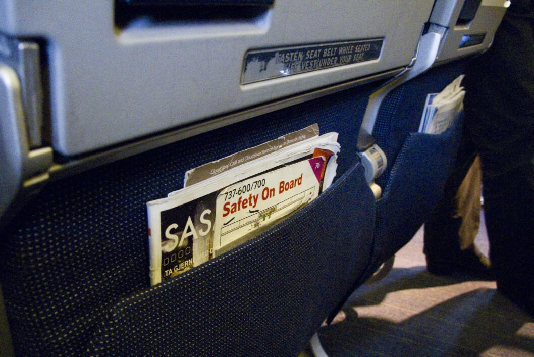 <b>LIGGER NOE IGJEN?</b> Svært mange glemmer igjen tingene sine i setelomma på flyet. Foto: PER ERVLAND