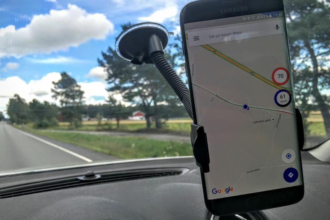 <strong><strong>SE FARTSGRENSEN:</strong></strong> Android-appen Velociraptor lar deg se fartsgrensen der du kjører, uansett hvilken GPS-app du bruker. Foto: PÅL JOAKIM OLSEN