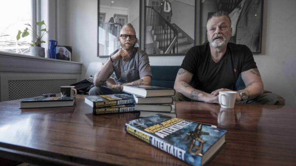 KRIMBOK: Thomas Winje Øijord (T.V.) og Eirik Jensen er ute med ny bok, denne gangen en fiksjonskrim. Foto: Øistein Norum Monsen / Dagbladet