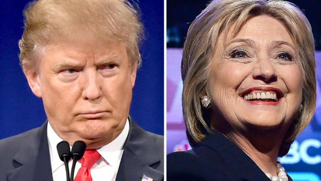 DUELL: Det er vel bare å glede seg til duelle mellom disse to de neste seks månedene. Alt ligger klart for at Donald Trump og Hillary Clinton bli de respektive partienes kandidater. Foto: AFP PHOTO / NTB scanpix