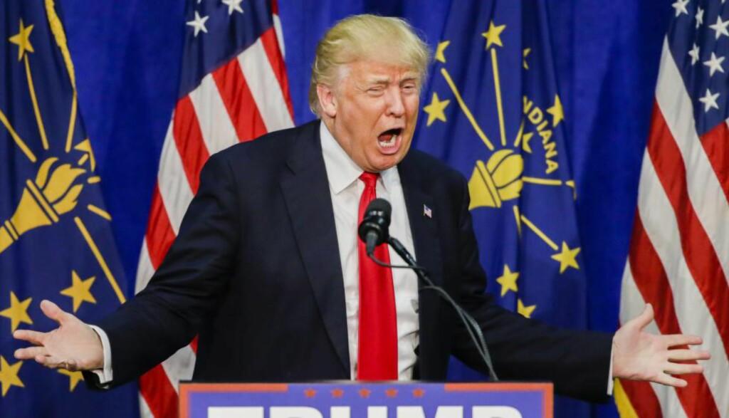 OFFENSIV:  - Hun er gift med mannen som er den verste kvinnemishandleren i politikkens historie, sa Trump ifølge AP om Hillary Clinton lørdag. Her i Indiana tidligere denne måneden. Foto: EPA/TANNEN MAURY