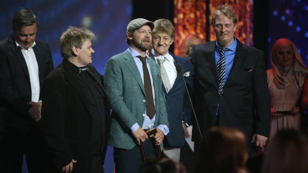 PRISVINNERE: Seersuksessen «Petter Uteligger» vant kveldens første Gullruten-pris, for Årets beste dokumentarserie. Foto: NTB Scanpix