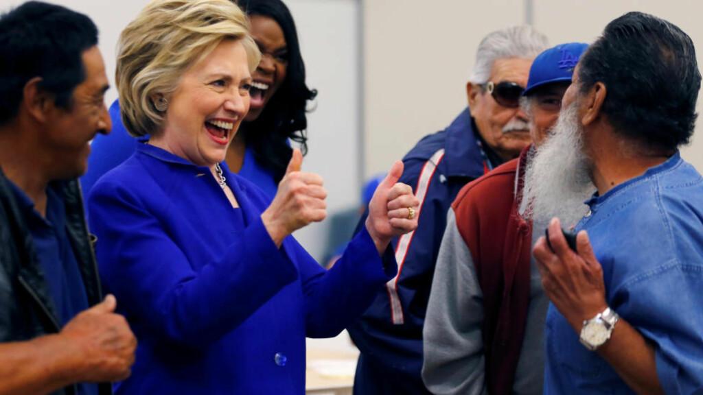 NOK DELEGATER: Hillary Clinton har nok delegater til å bli Demokratenes neste presidentkandidat, ifølge AP. Foto: REUTERS/Mike Blake