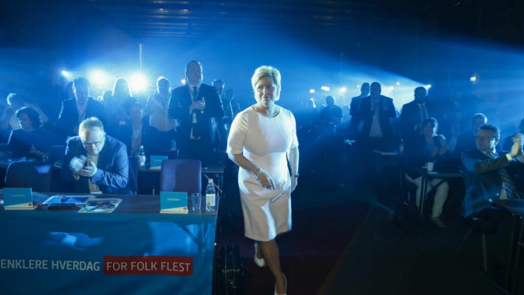 - KLASSISK: Ekspertene påpeker at dobbeltkommunikasjon er et klassisk grep for populistiske partier, men minner om at det finnes en grense også hos Frp-velgerne. Foto: Terje Pedersen / NTB SCANPIX