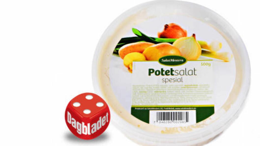 <strong>LITT STØRRELSE:</strong> Store potetbiter og biter av purre drukner litt i majones, men smaker bra. Foto: ELISABETH DALSEG