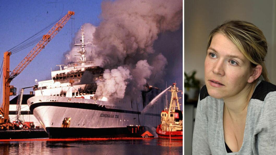 <strong>ET MYSTERIUM:</strong> 159 mennesker mistet livet i brannen på Scandinavian Star. Men det er fremdeles et mysterium hvem som sto bak mordbrannen for 26 år siden. Elizabeth Odland var seks år gammel den gangen, men overlevde dødsbrannen. Foto: NTB Scanpix / Jørgen Ploug