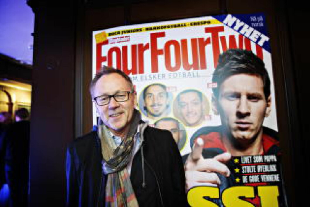 <strong>PAPIR:</strong> John Arne Markussen og Dagbladet planlegger flere nye produkter framover. Her under lanseringen av FourFourTwo. Foto: Dagbladet