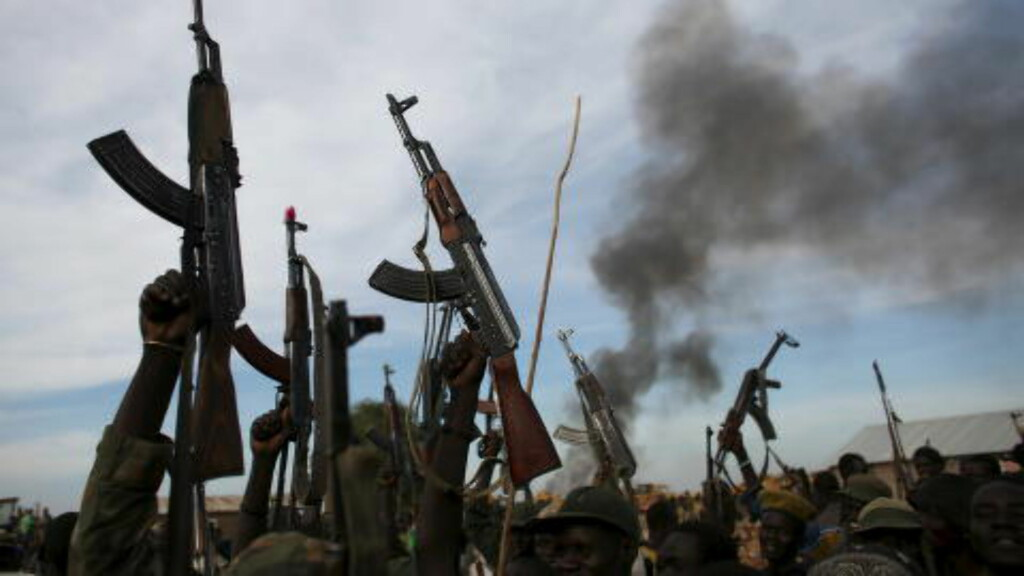 BRUTAL BORGERKRIG:  FNs menneskerettsråd sier Sør-Sudan har en av verdens verste menneskerettssituasjoner. Fredag la FN-organet fram en ny rapport om situasjonen i landet i 2015 der både regjeringssoldater og opprørere anklages for krigsforbrytelser, men at myndighetene står bak de fleste og groveste forbrytelsene. Her holder opprørskrigere opp sine våpen 13. februar 2014, i Upper Nile. Det er nå en våpenhvile, men den brytes hyppig. Foto: REUTERS/Goran Tomasevic