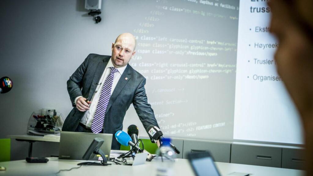 VIL OVERVÅKE: Justisminister Anders Anundsen (Frp) holdt pressemøte om nye overvåkningsmetoder i politiet hos justisdepartementet i Oslo. Foto: Christian Roth Christensen / Dagbladet