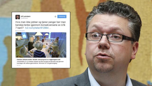 bdaaa84c UENIG I KRITIKKEN: På Twitter har Ulf Leirstein (Frp) fått så øra flagrer
