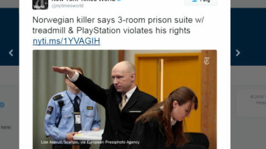 «Breivik hevder at hans palassaktige celle bryter med ...