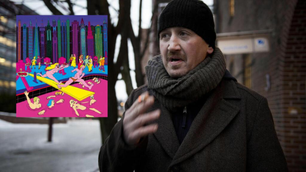 DØMT: Pål Enger (49) er dømt for blant annet å ha stjålet fem trykk av Pushwagner-verket «Nightlife». Foto: Galleri Fineart (innfelt), Øistein Norum Monsen / Dagbladet