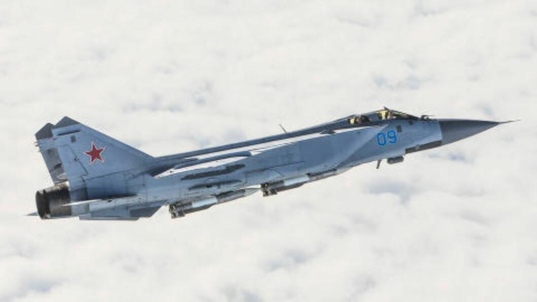 <strong>MIG-JAGER:</strong> Flytypen MIG-31 er en av russernes mest brukte jagerfly og har kallenavnet «Foxhound». Foto: Forsvaret