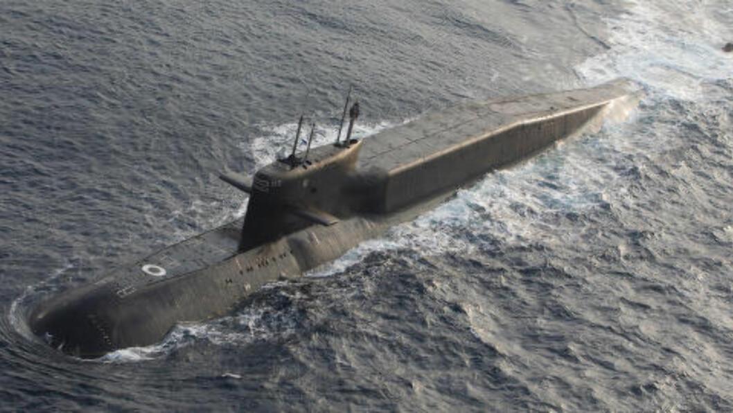 <strong>UBÅT:</strong> Norske jagerfly identifiserer også russiske skip og ubåter som er utenfor norsk farvann. Her et bilde av en russisk ubåt i Delta-klassen. Foto: Forsvaret