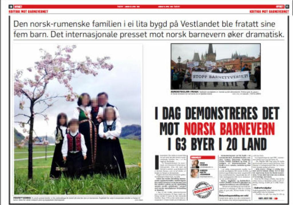 DOKUMENTAR: Dagbladet forrige lørdag.