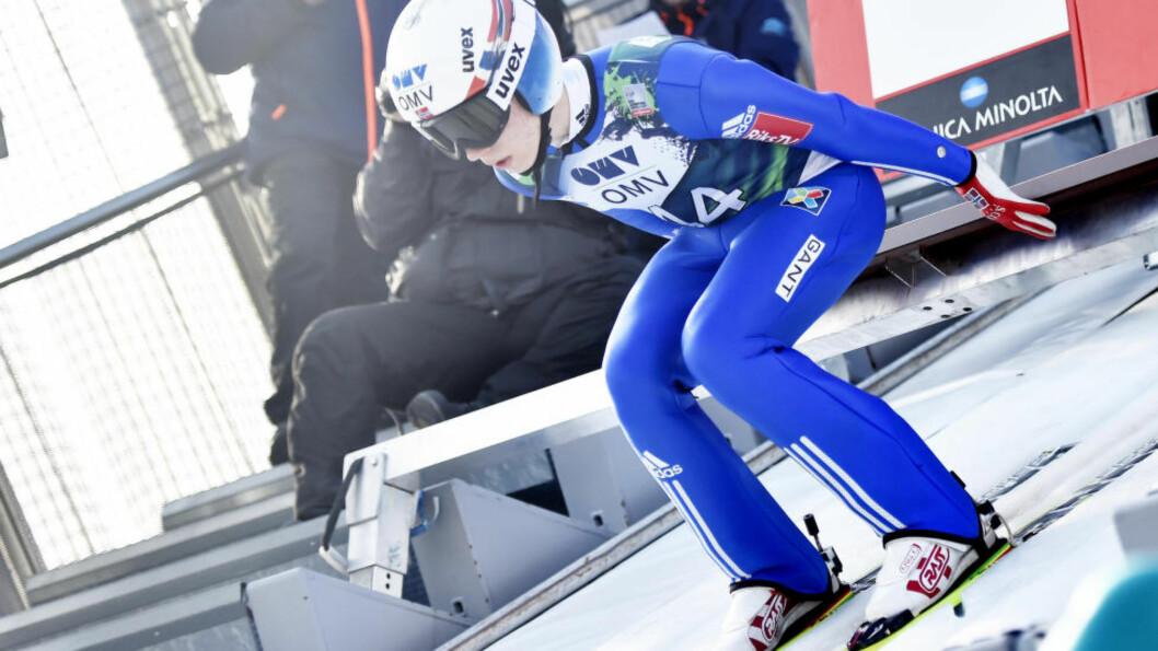 <strong>LENGST:</strong> Johann André Forfang hoppet lengst i kvalifiseringen til sesongens første individuelle verdenscuprenn med 141 meter. Foto: Jon Olav Nesvold / NTB scanpix
