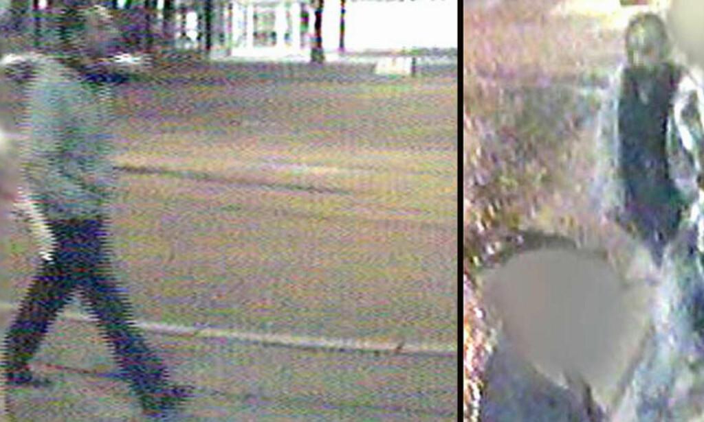 OVERVÅKINGSBILDER: i 2008 gikk politiet ut med overvåkingsbilder av en person de mener er den tiltalte mannen. Han ble imidlertid ikke siktet før en DNA-match to år seinere. Foto: Politiet