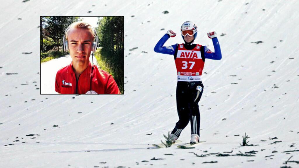 FRA RIMI TIL SEIER:  Daniel-Andrè Tande tok i går sin første verdenscupseier. Kontrasten er stor til sommerjobben på Rimi. Foto: NTB Scanpix / Privat