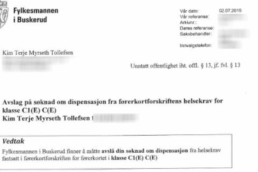 <strong>AVSLAG:</strong> Nå i sommer fikk ikke Tollefsen innvilget dispensasjonen.
