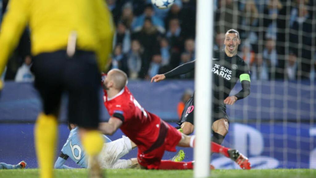 SCORET: Zlatan Ibrahimovic scoret mot moderklubben Malmö da PSG utklasset svenskene i Sverige. Foto: Andreas Hillergren / TT / Kod 1060