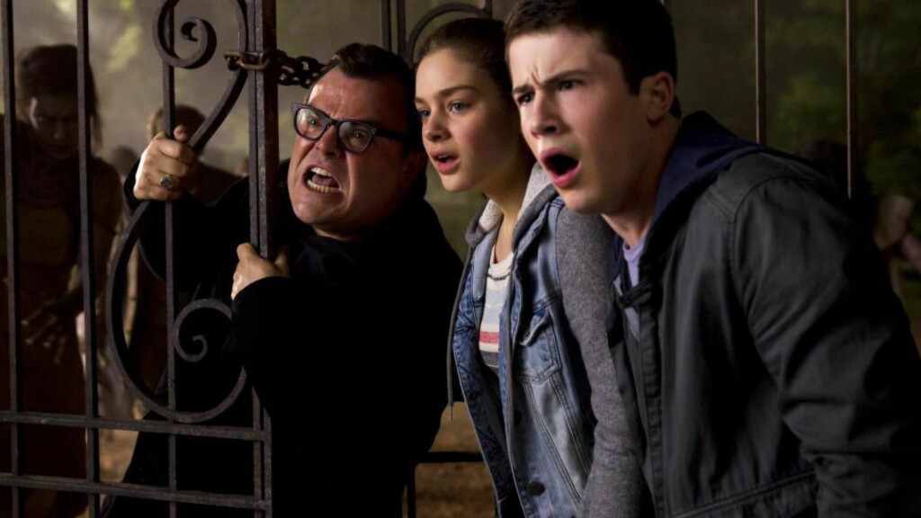 "L-r, Jack Black, Odeya Rush and Dylan Minnette star in Columbia Pictures' ""Goosebumps."""