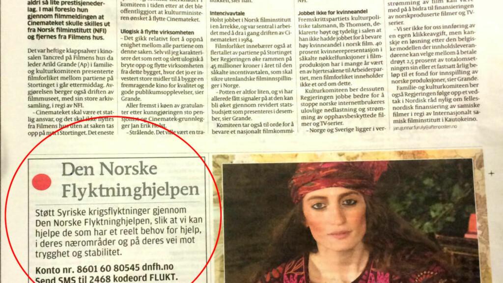 LIK: «Den Norske Flyktninghjelpen» er en nystartet organisasjon som har sin første annonse på trykk i Aftenposten i dag. Foto: Torun Støbakk.