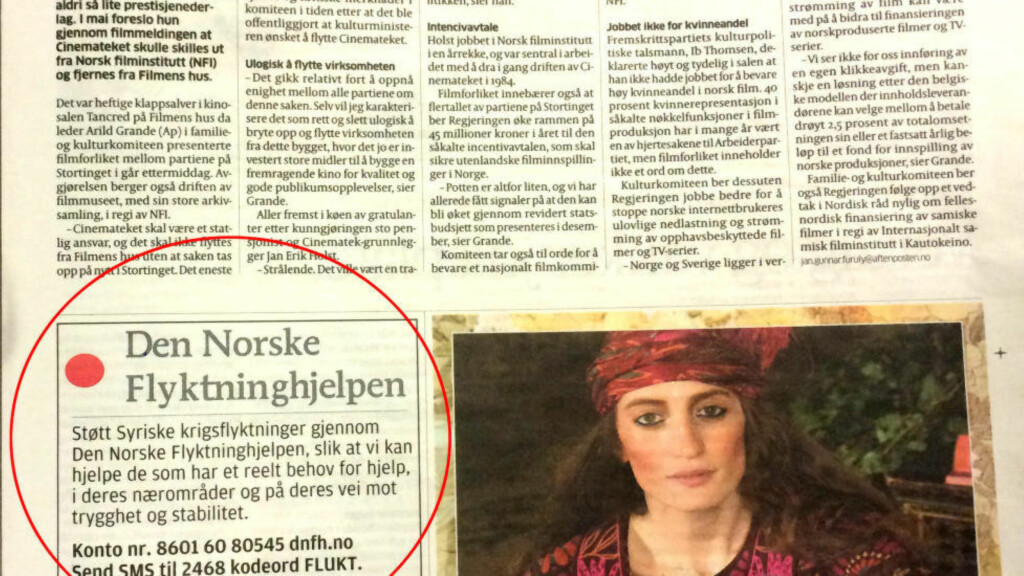 ANNONSE OM PENGER: : «Den Norske Flyktninghjelpen» var en nystartet organisasjon som hadde sin første annonse på trykk i Aftenposten i går. Foto: Torun Støbakk / Dagbladet