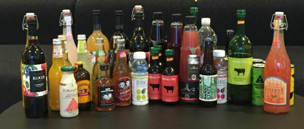 STORT UTVALG: Frukt- og bærjuicer og moster, ingefærøl, brus og smakssatt vann. De alkoholfrie alternativene er langt mer spennende nå enn bare for få år siden. Foto: SOUNDMIND