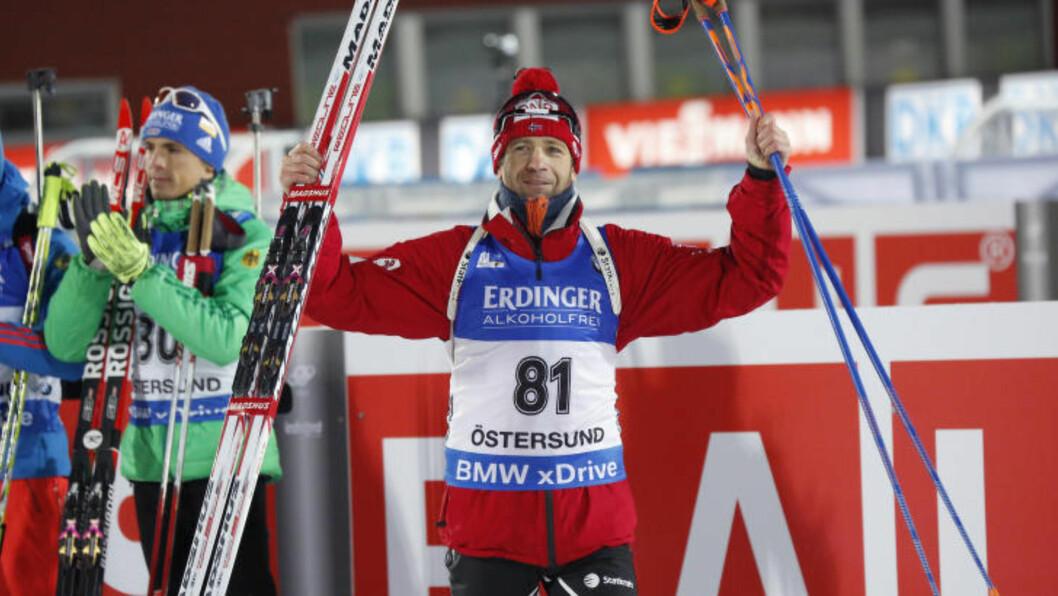 <strong>IMPONERTE IGJEN:</strong> Ole Einar Bjørndalen tok en ny pallplassering på sprinten i Östersund. Foto: Christine Olsson/TT / NTB scanpix