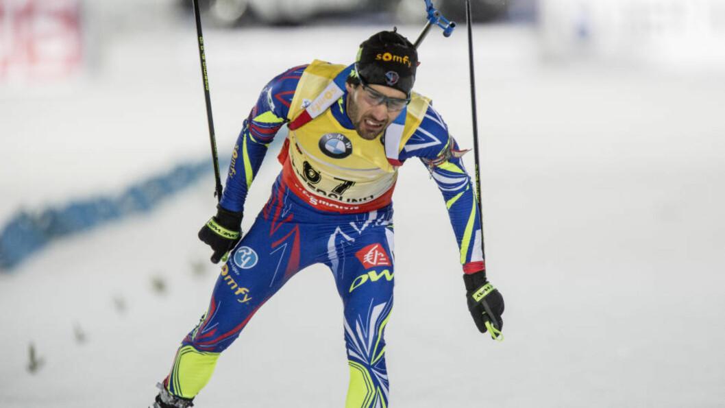 <strong>OVERLEGEN:</strong> Martin Fourcade viste sjokkerende god langrennsform da han vant i utklassingsstil på sprinten i Östersund. Foto: Christine Olsson / TT / Kod 10430