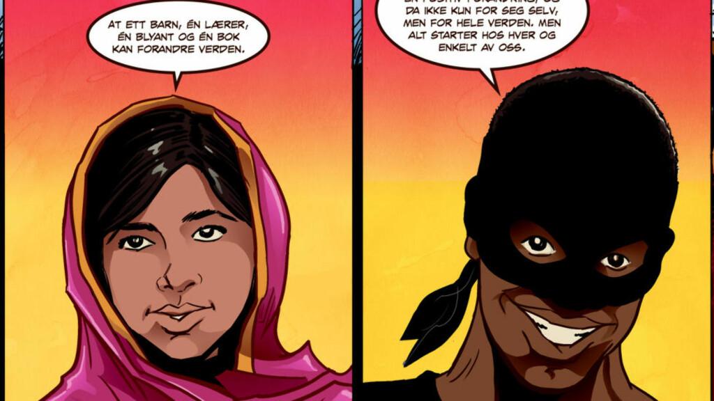 MALALA  SUPERHELT: Malala Yousafzai møter superhelten «The Urban Legend», alias lærer Malcolm T. Madiba (til høyre). Foto: Josef Yohannes / 20th Century Fox og Fox Searchlight