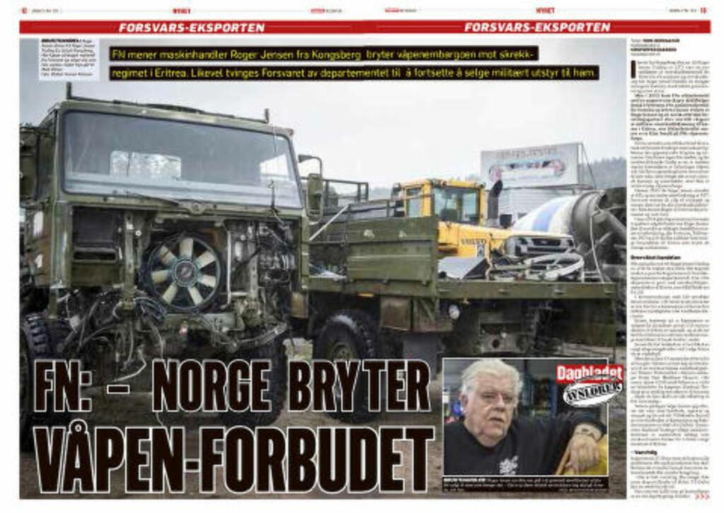 ERITREA-LASTEBILENE: Lørdag 9. mai kunne Dagbladet avsløre hvordan norske militære lastebiler havnet i Eritrea. Faksimile: Dagbladet 9. mai 2015