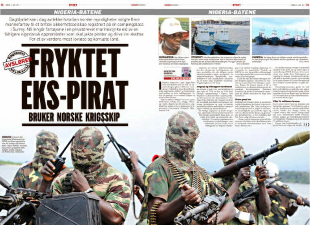 NIGERIA-BÅTEN: 14. juni i fjor kunne Dagbladet avsløre hvordan norske marinefartøy har havnet hos paramilitære grupper i Vest-Afrika. Faksimile: Dagbladet 14. juni 2015