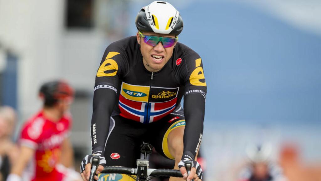IMPONERTE: Edvald Boasson Hagen på pallen igjen. Foto: Vegard Wivestad Grøtt / NTB scanpix