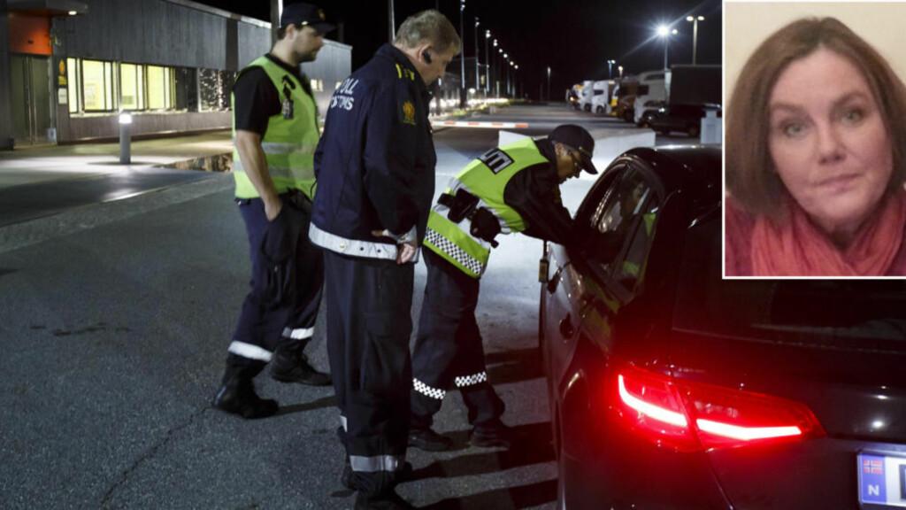 VIL HJELPE: Mona Bentzen (innfeldt) oppfordrer til å ta med flyktninger over grensen til Norge. Her stanser politiet to biler på Svinesund som hadde plukket opp syrere i Sverige. Foto: Heiko Junge / NTB Scanpix / Privat