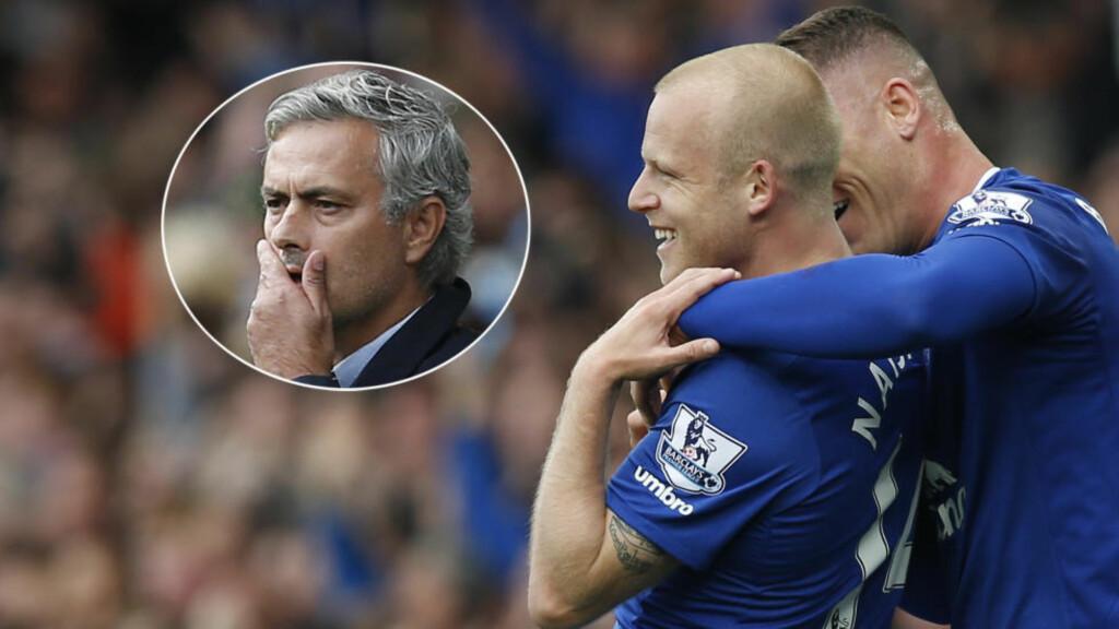 NY SKREKKAMP: Everton senket Chelsea takket være tre scoringer av Steven Naismith. Det ene var med hodet, den andre med venstrebienet og det tredje med høyrebeinet. Det er bare andre gang siden 2006 at Mourinho taper to kamper på rad i ligaen med Chelsea. Foto: NTB Scanpix