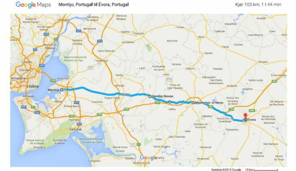 RUTA: Sykkelturen starter i Lisboa i Portugal, går gjennom Spania og helt fram til Middelhavet. Aleksander har ambisjoner om å sykle cirka elleve mil om dagen.