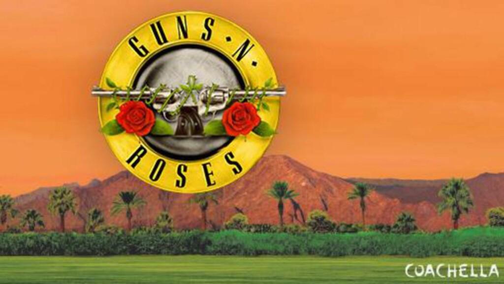 TILBAKE: Guns N' Roses spiller i ørkenen i California, med Slash og Axl Rose. Det er første gang de spiller sammen siden 1993.