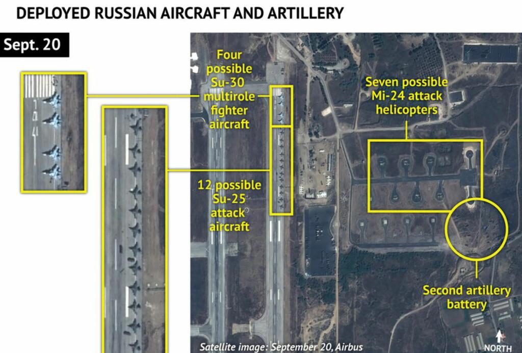 RUSSERNE PÅ PLASS:  Dette satelittbildet viser at Russland ser ut til å ha utstasjonert en rekke kampfly i hjembyen til den syriske diktatoren Bashar al-Assad, Latakia. I tillegg sier amerikanske talspersoner at Russland også har droner for å overvåkning. Foto: Reuters / Scanpix