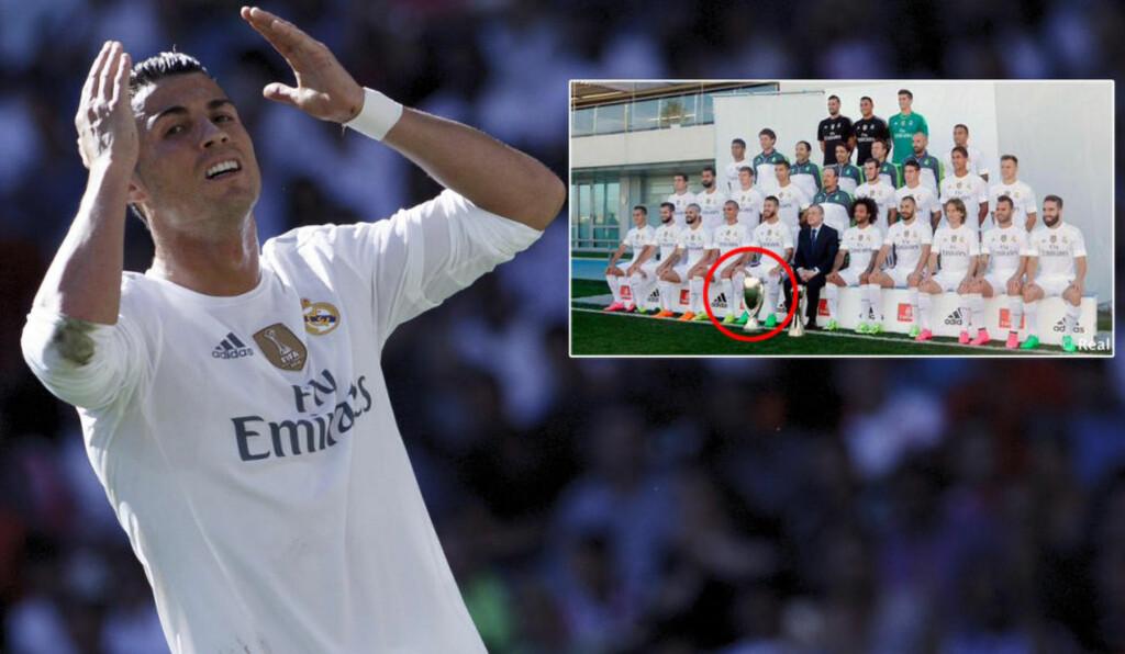 AI,AI,AI:  Real Madrid-spillerne poserte med «Barcelonas» pokal da de på søndag viste fram årets lagbilde i sosiale medier.  Foto: NTB Scanpix / Real Madrid