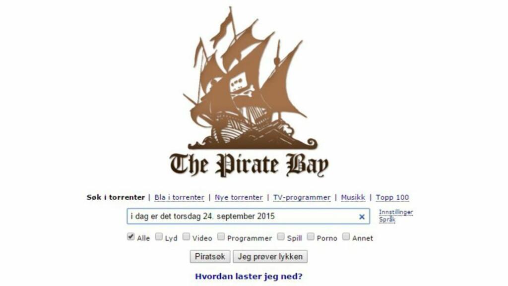 GIKK IKKE PLANKEN LIKEVEL: The Pirate Bay er tilbake og fullt mulig å bruke i Norge. Nedlastingsnettstedet har byttet domene og dermed unngått dommen fra Oslo tingrett. Skjermdumpen er tatt torsdag ettermiddag. Foto: Skjermdump