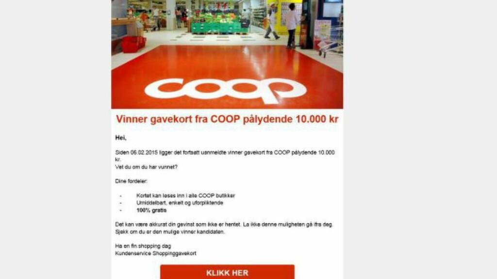 BLIR MISBRUKT:  Blant annet Coop er blitt brukt av nettsvindlere i jakten på personopplysninger og samtykke til markedsføring. Her gir en konkurranse inntrykk av å være fra Coop, noe den i realiteten ikke er. Foto: Skjermdump/Forbrukerombudet