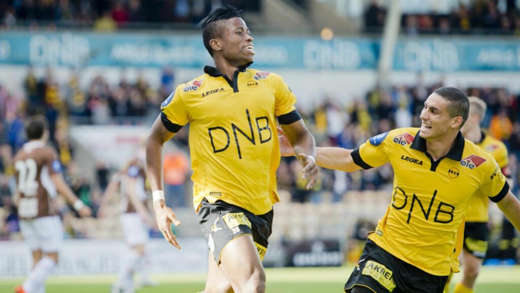 SCORET IGJEN: Lillestrøms Imoh Fred Friday scoret sitt fjerde mål på to kamper mot Mjøndalen. Foto: Jon Olav Nesvold / NTB scanpix