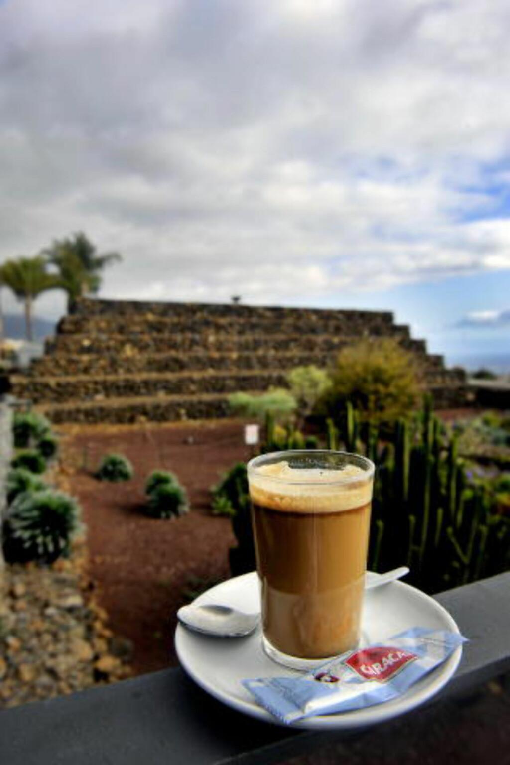 KRYDRER LIVET:Jo lenger sør du kommer, jo større er sannsynligheten for krydder i kaffen. I pyramideparken på Tenerife tilsettes kaffen sitron, likør og kanel. Foto: JOHN T. PEDERSEN