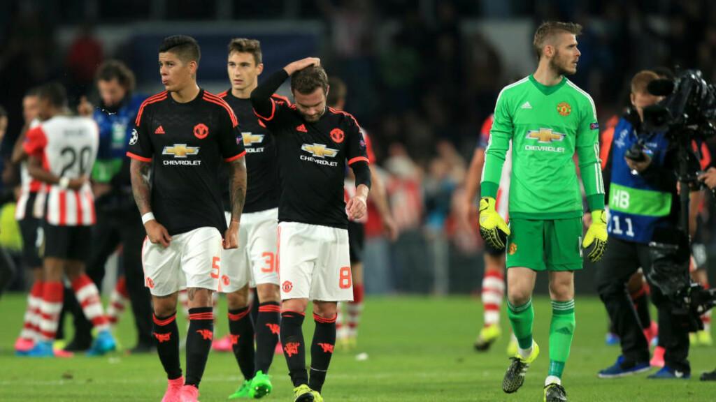 SLITER I EUROPA: Manchester United åpnet Champions League med tap mot PSV. I kveld møter de Wolfsburg. Foto: NTB Scanpix