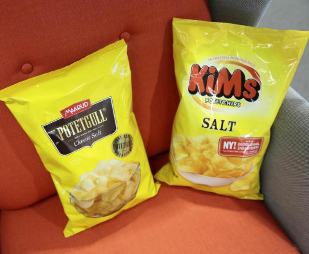 SNACKSKRIG: Kims, som her bruker begrepet potetchips, ønsker også å kalle sine produktet potetgull. Det kan de fra i dag.